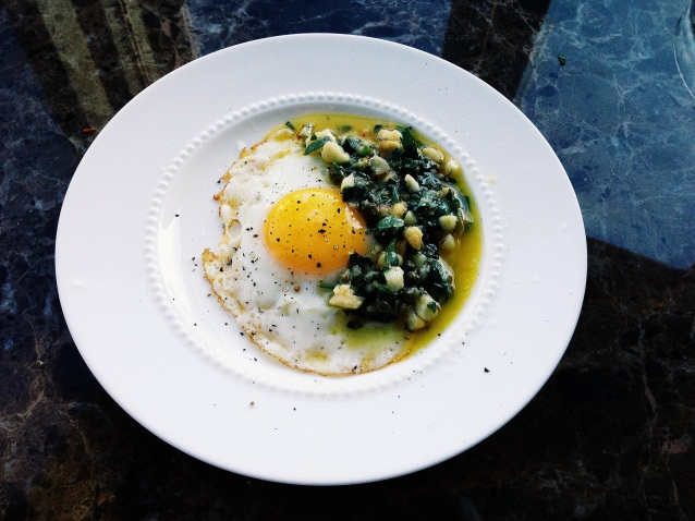 Fried egg with salsa verde