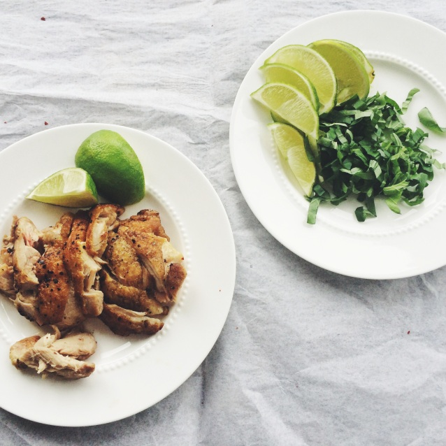 Crispy Roast Chicken, Basil, and Lime Wedges to Top the Curry