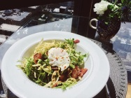 Frisee Salad with Bacon, Poached Egg, and Pistachio Vinaigrette | Cooking With Bells On
