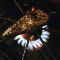 Charring a Poblano Pepper