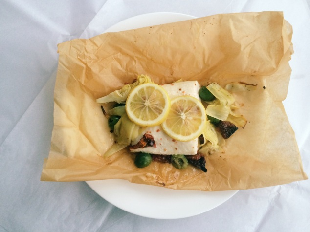 Halibut with Antipasta en Papillote | Cooking with Bells On
