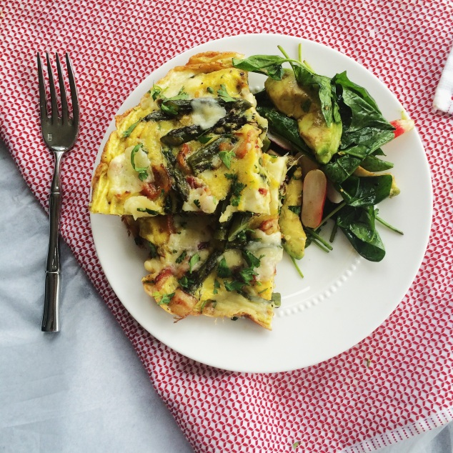 Asparagus, Bacon, and Gruyere Frittata | Cooking With Bells On
