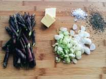 Purple Asparagus Pieces and Sliced Spring Onion